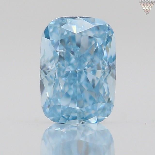 0.06 ct FANCY VIVID GREEN-BLUE  CUSHION GIA 天然  ダイヤモンド ルース