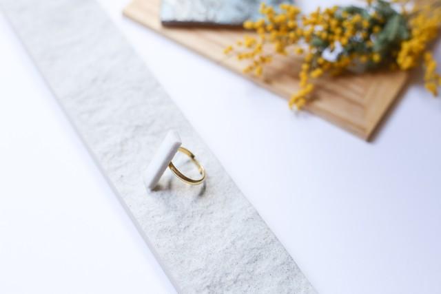 324伝統文化品美濃焼多治見タイル指輪・リング(フリーサイズ) ※証明書つき