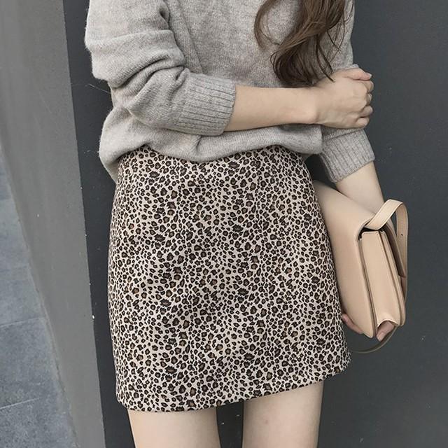 【即納】【送料無料】 レオパード柄スカート♡ ミニスカート タイト ヒョウ柄