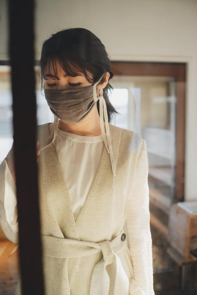 リネンの綾織リボンマスク(グレイ)