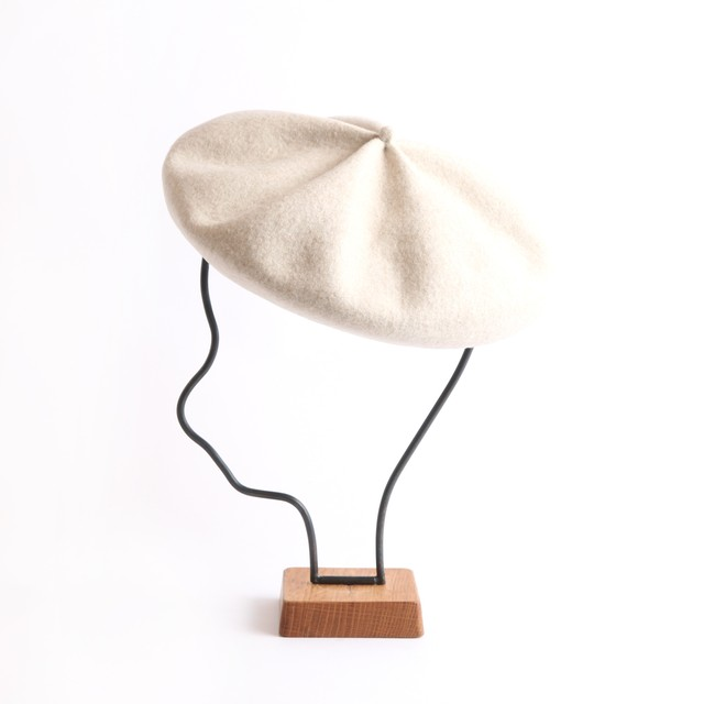 mature ha./knit cap light beige
