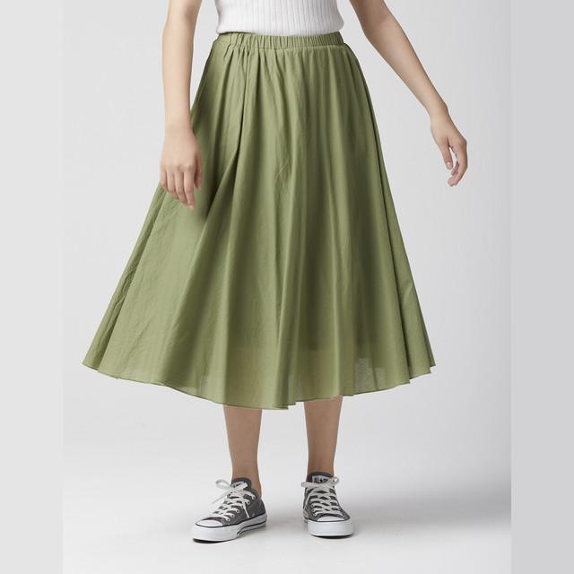 WOMEN スカート ギャザースカート コットン カーキ