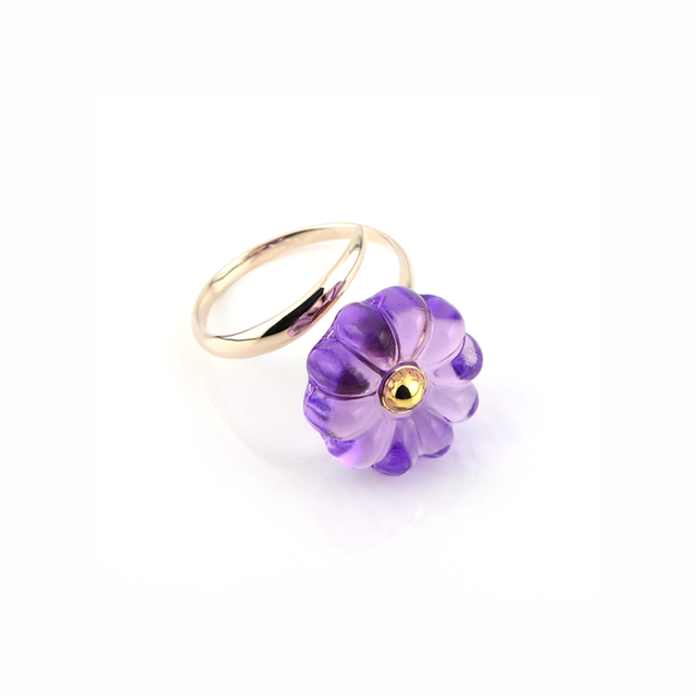 "K10_flower glass_ring ""purple rain"""