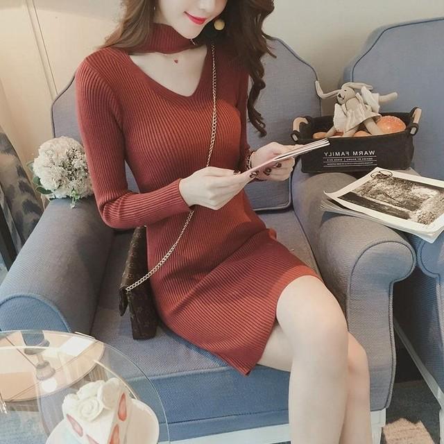 【dress】ファッションで叶え抜群のスタイルニットワンピース