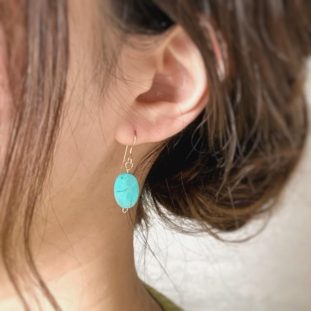 【JORIE】ターコイズ 14Kgf earrings