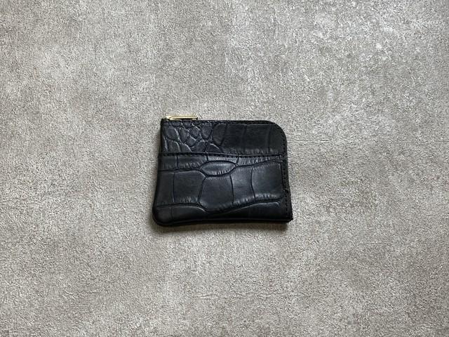 L-shaped Small Wallet: (crocodile embosses) Color : Black