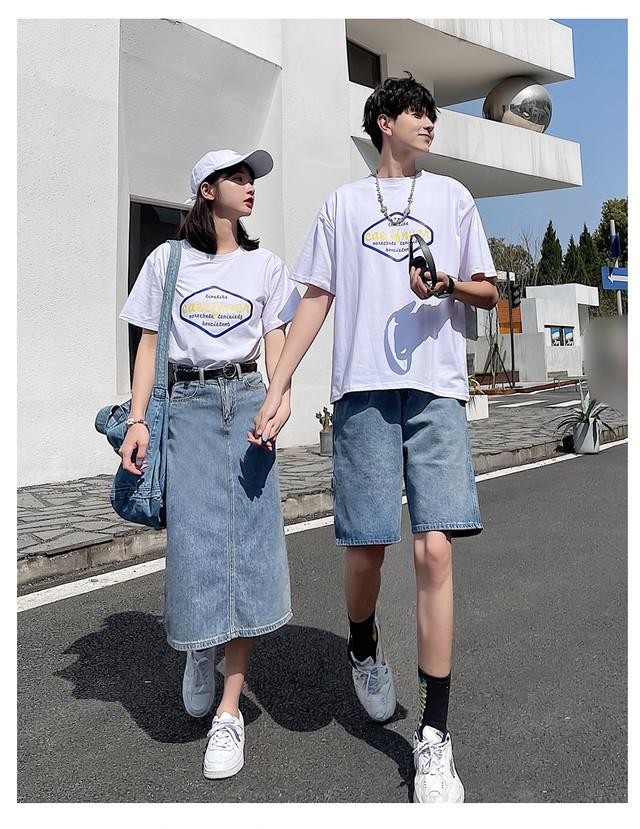 プリント Tシャツ  デニムロングスカート 0944 メンズTシャツ カップル ペアルック リンクコーデ カジュアル お揃い デート