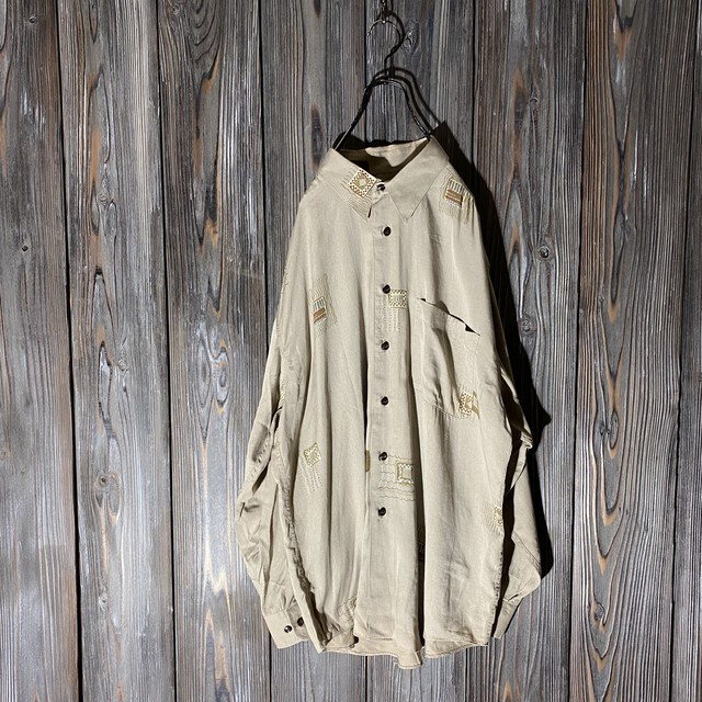 [used]beige some lines shirt