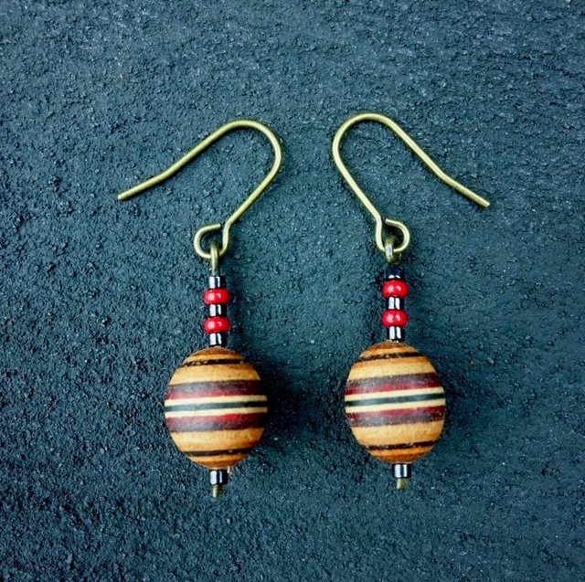 wood ball beads pierce PWB-002