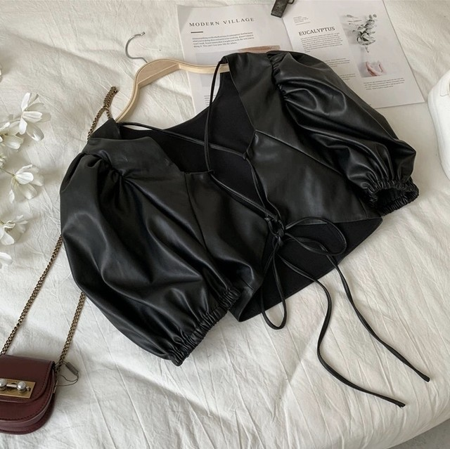 leather short tops