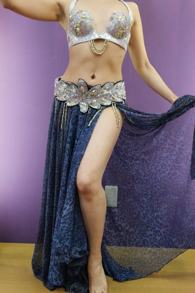 エジプト製 ベリーダンス衣装 ターキッシュスタイル ブルー豹柄