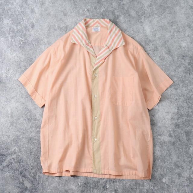 """60年代 """" Nofade """" イタリアンカラー 切り替え オープンカラーシャツ L ヴィンテージ A796"""