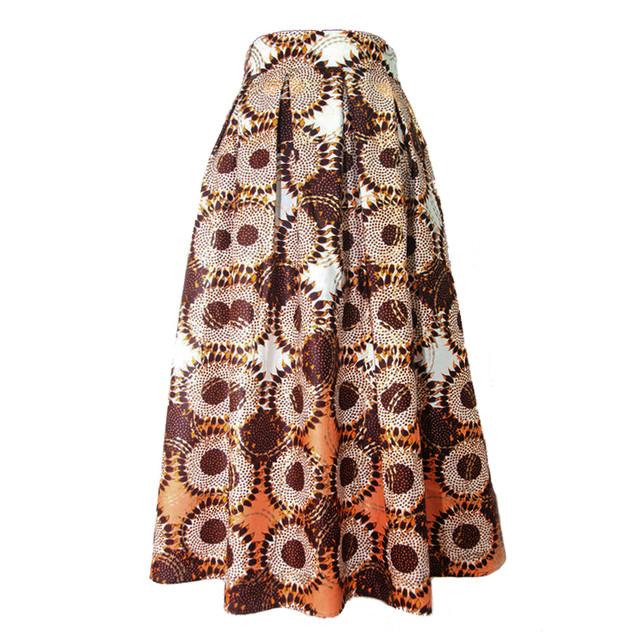 ミモレ丈スカート アフリカンテキスタイル「鮮やかな花」オレンジ×イエロー×ブラウン(日本縫製) アフリカン エスニック ガーナ服 パーニュ バティック