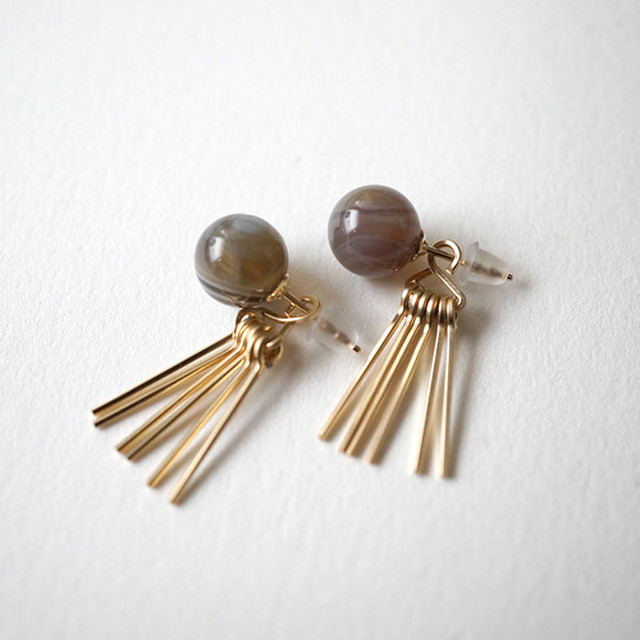 【MUUTS】agate&fringe pierce