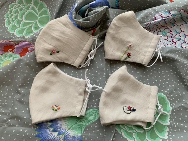 韓国刺繍の布マスク 夏色 〜MU〜