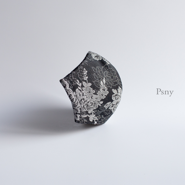 PSNY ラルジャン・シルバー・ブラックのゴージャス・マスク 不織布フィルター入り 上品 豪華 ますく おとな イタリア製素材 ゴージャス パーティー フォーマル 美しい 美人 高級 マスク FG01