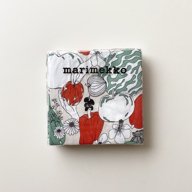 2021春夏【marimekko】カクテルサイズ ペーパーナプキン VIHANNESMAA リネン 20枚入り