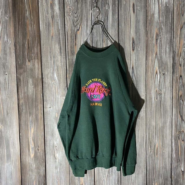 [Hard Rock Cafe]Hawaii dark green sweat