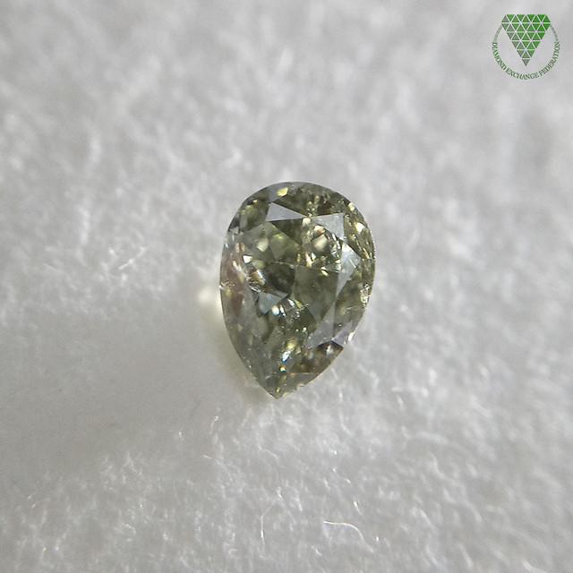 0.193 ct FANCY DARK GRAY GREEN I1 CGL 天然 グレー  グリーン ダイヤモンド ルース ペアシェイプ