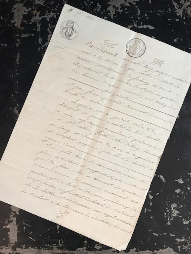 くすんだブルグレーの表紙 フランスアンティーク古文書冊子(1890年)