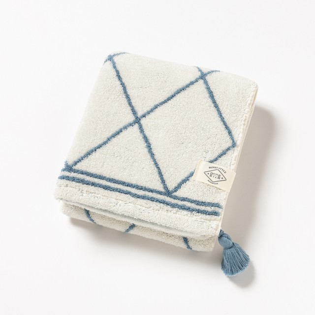 BOHO STYLE grid /フェイスタオル/ブルー1-67487-31-B