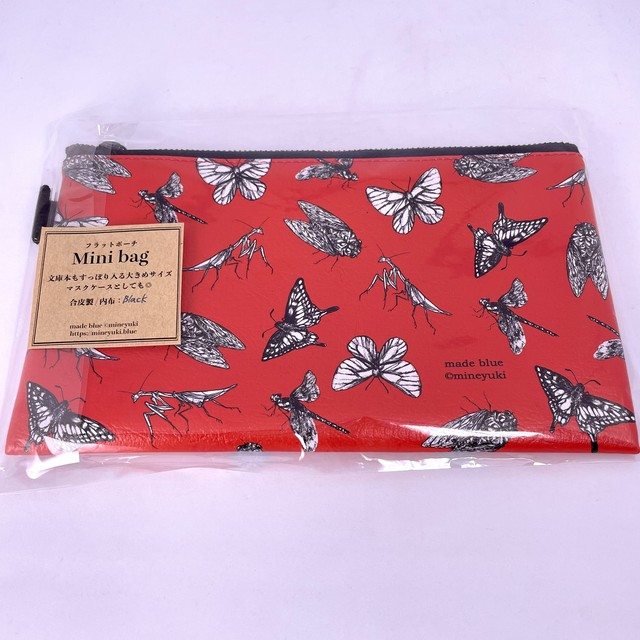 【made blue/峰雪mineyuki】フラットポーチ / Mini bag「Red chic insects」