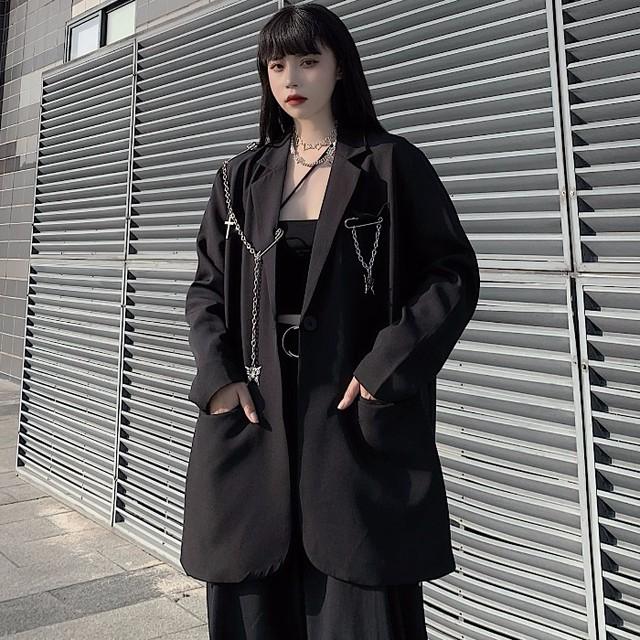 【アウター】シングルブレストファッション無地切り替えスーツ34224273