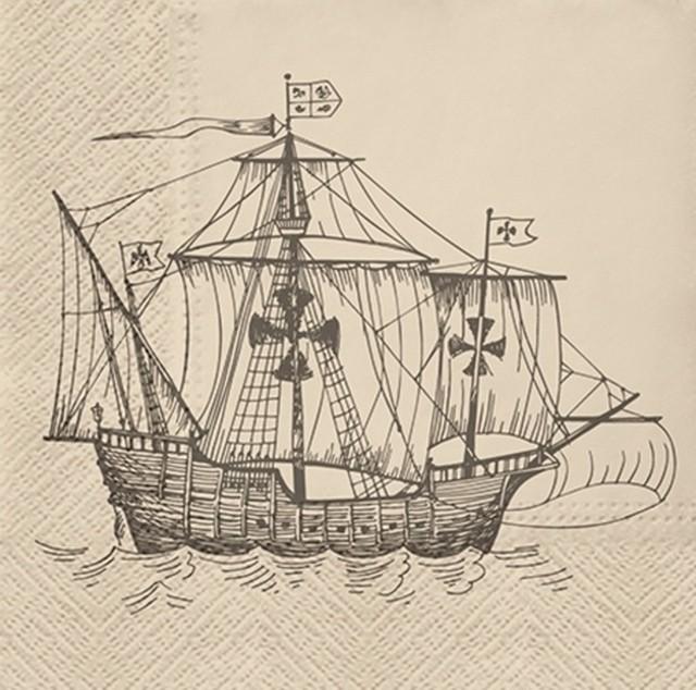 2021春夏【PAW】バラ売り2枚 ランチサイズ ペーパーナプキン Sailing Ship ベージュ