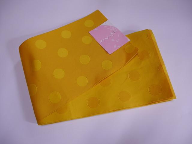 【mo-14】 リバーシブル半幅帯  水玉  オレンジと黄色