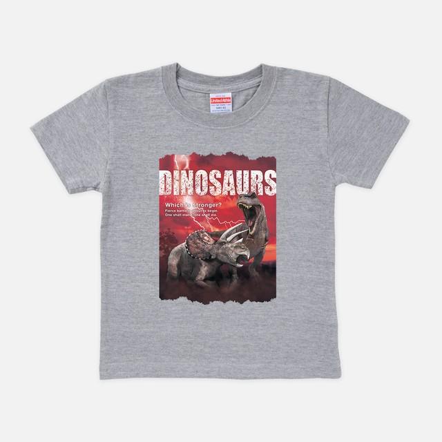 Tシャツ[リアルダイナソー:キッズ]ティラノvsトリケラ ミックスグレー色