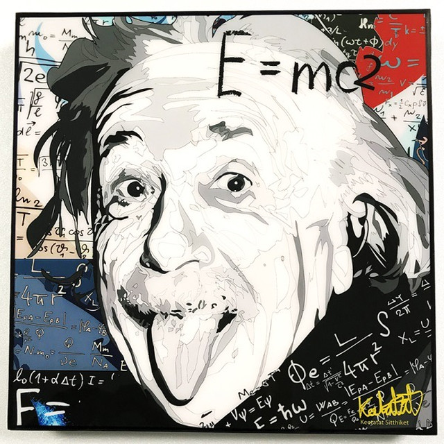 Einstein (2) / アインシュタイン「ポップアートパネル Keetatat Sitthiket」ポップアートフレーム ポップアートボード グラフィックアート ウォールアート 絵画 壁立て 壁掛けインテリア 額 ポスター プレゼント ギフト インスタ映え 偉人 キータタットシティケット