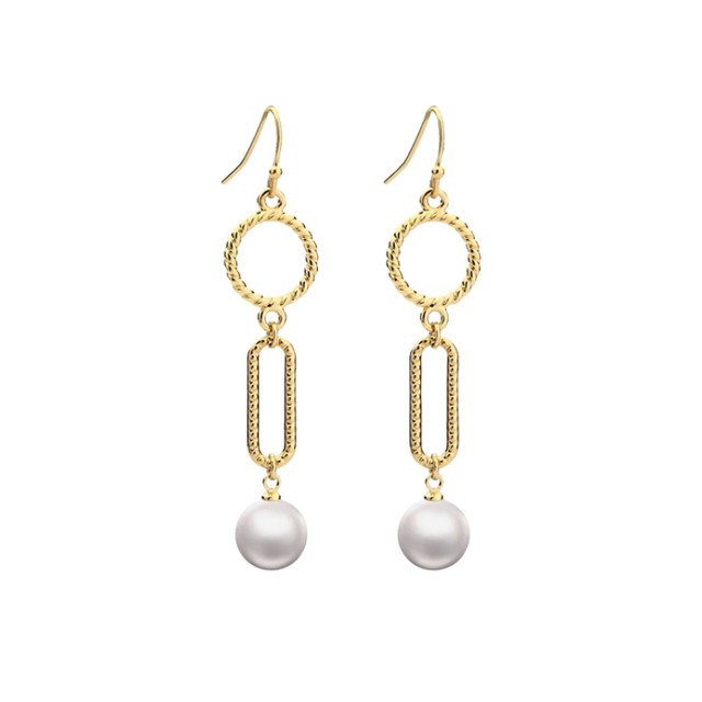 round parts pearl pierce&earring