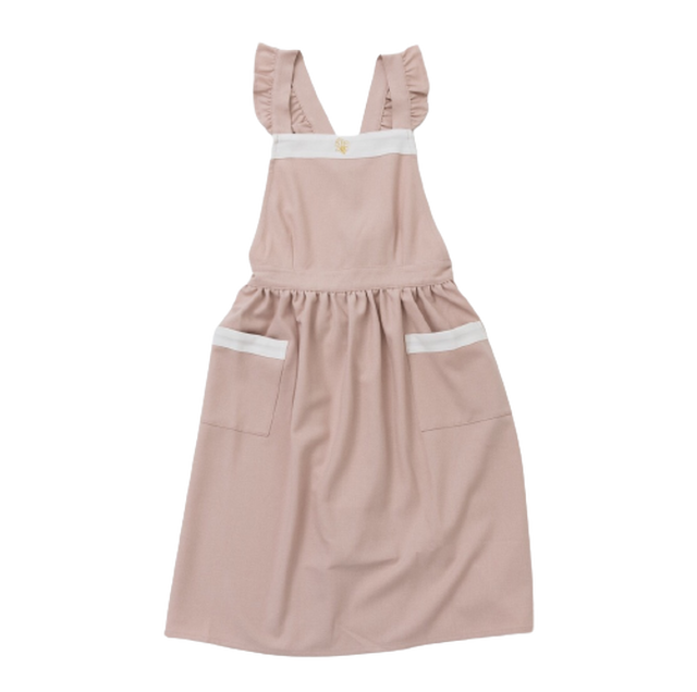 Bycolor frill apron / バイカラー フリル エプロン(ピンク × ホワイト)