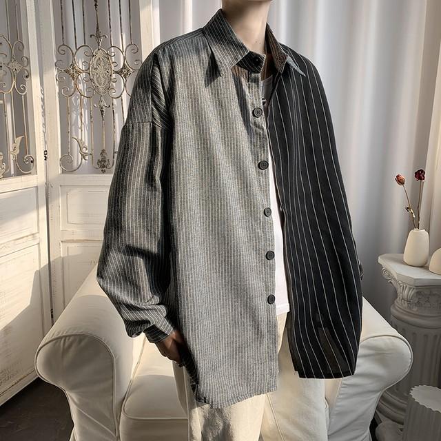 【メンズファッション】カジュアル折り襟切り替えストライプ柄シングルブレ41530111ストシャツ