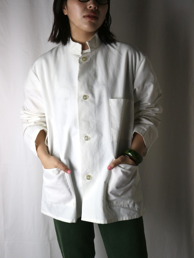 stand collar over size shirt jacket【5615】
