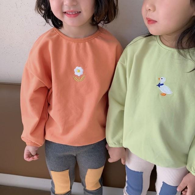 【先行予約】スウェット ワンポイント ベビーカラー 3色展開 韓国子供服 春 SS