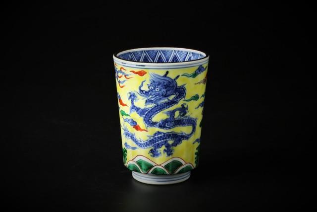 黄彩龍鳳文湯呑 清水焼