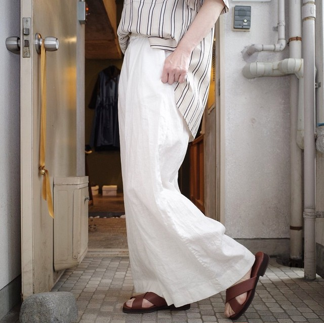 unfil (アンフィル) washed linen - weather wide leg trousers