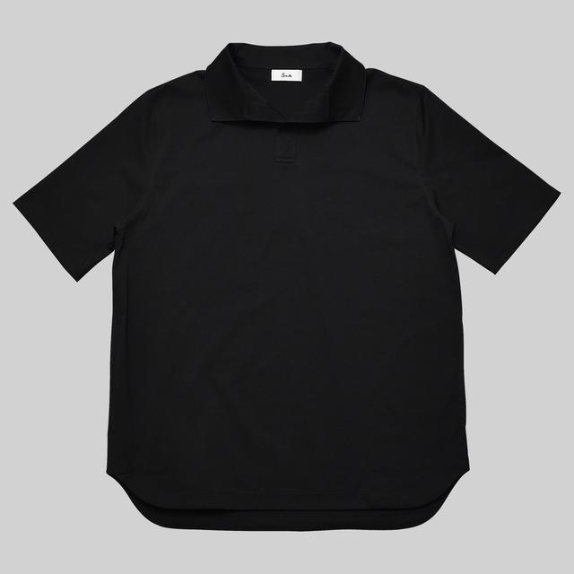 オブロングカラードレスT リラックス / Oblong Collar Dress T Relax #BLACK