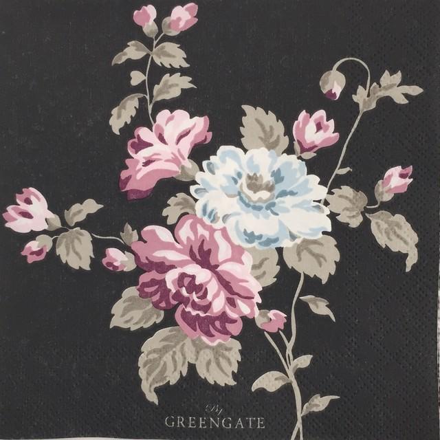 【GreenGate】バラ売り1枚 カクテルサイズ ペーパーナプキン MAUDE ダークグレー