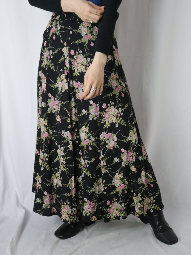 flower pattern flare skirt【5550】