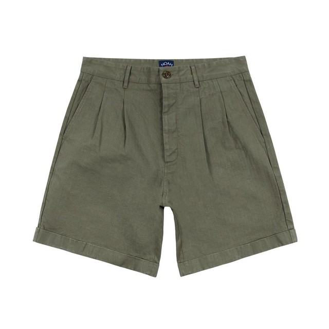 Herringbone Double-Pleat Shorts(Army Green)
