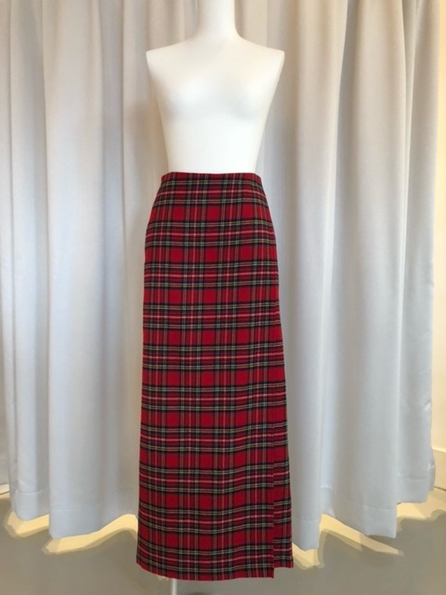 HOLIDAY-WOOL CHECK RESIZE WRAP SKIRT