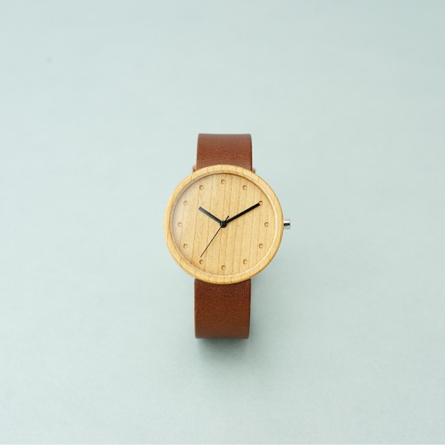Cherry wood - Organic leather Dark Brown - L