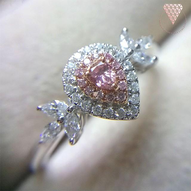 0.063 ct F. Int. Pink 天然 ピンク ダイヤモンド K18 ホワイトゴールド リング