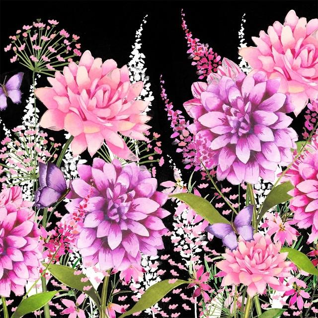 新入荷 2019秋冬【Paperproducts Design】バラ売り2枚 ランチサイズ ペーパーナプキン FLOWER BEAT ブラック