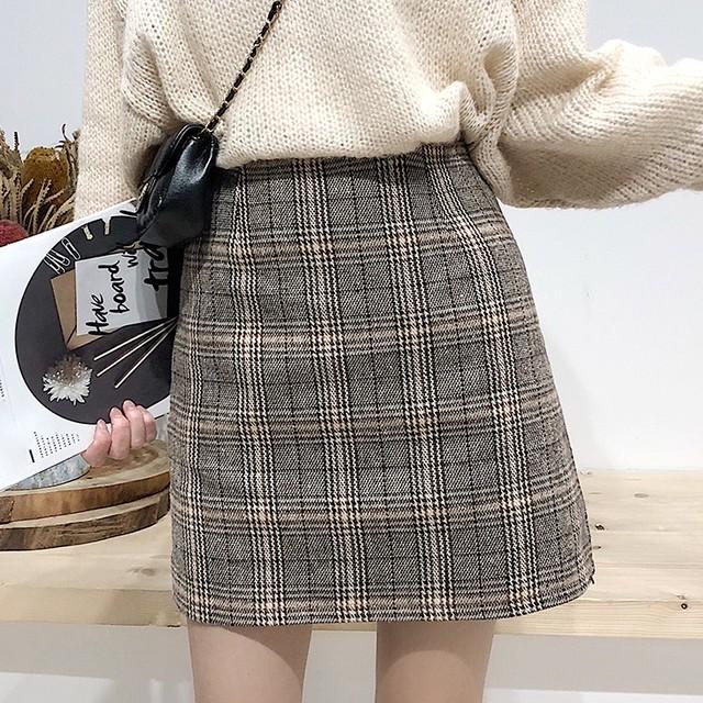 【ボトムス】チェック柄切り替えAライン膝上スカート24675974