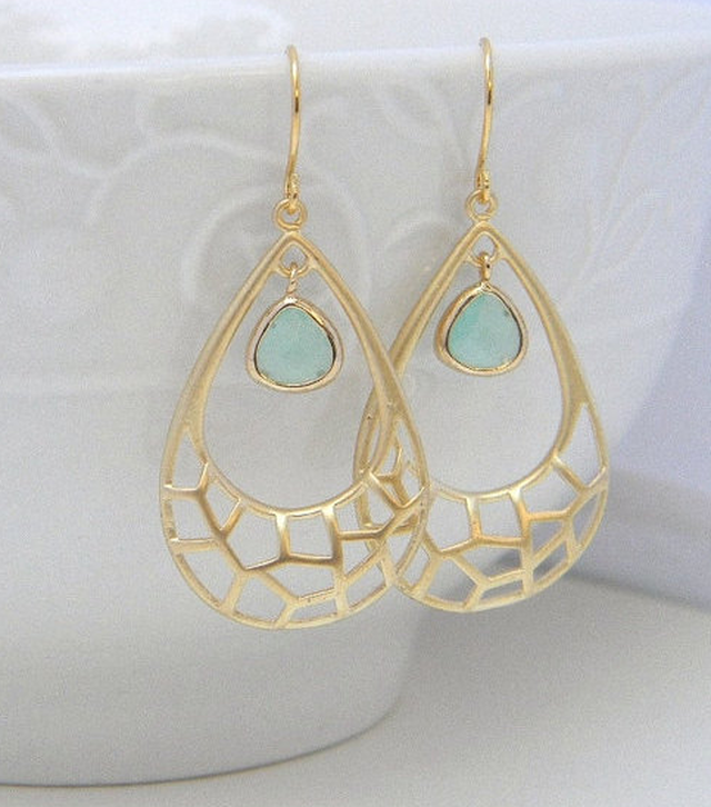 Gold and Aqua Teardrop Earrings