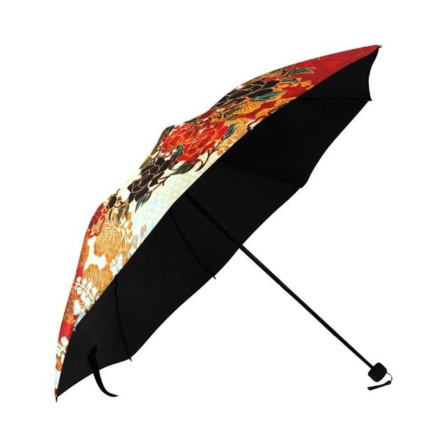 牡丹家紋 紅白 折りたたみ日傘