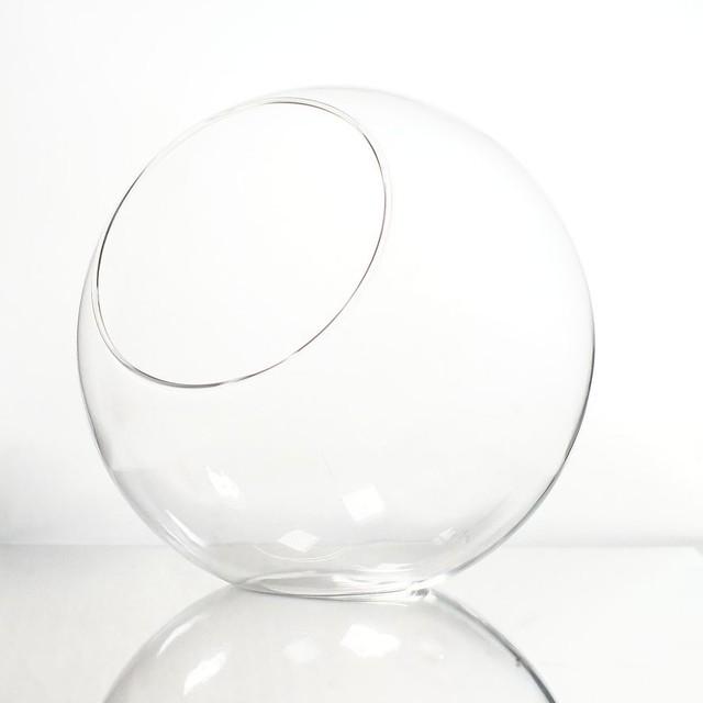 【L】丸型 斜め口 ガラスボトル 苔テラリウム 容器 ボトリウム ボトルアクアリウム